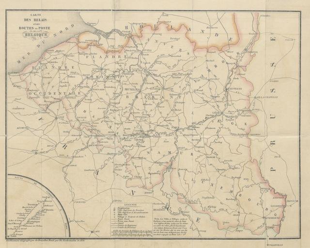 """map from """"Livre de poste de la Belgique. Contenant les lois et arrêtés qui règlent le service des relais ... Avec une carte, etc"""""""