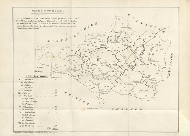 "map from ""[The Civil Division of the County of Dorset, methodically digested and arranged: containing lists of the principal civil magistrates and officers ... and a complete nomina villarum ... Also a list of the county and other bridges. With the standing rules of the Quarter Sessions, etc. To which is added an appendix, etc. [With a map.]]"""