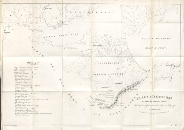 """map from """"Viaggio per la Tauride fatto nel 1820 ... Tradotto dal Russo ... da pregevole scrittore napolitano. [Edited by E. Catalano.]"""""""