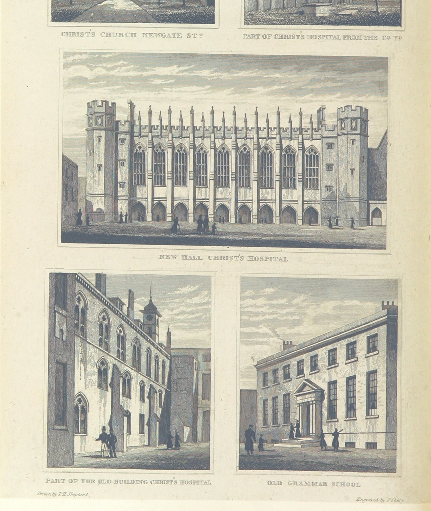 """architecture from """"National History and Views of London and its environs ... from original drawings by eminent artists. Edited by C. F. P"""""""