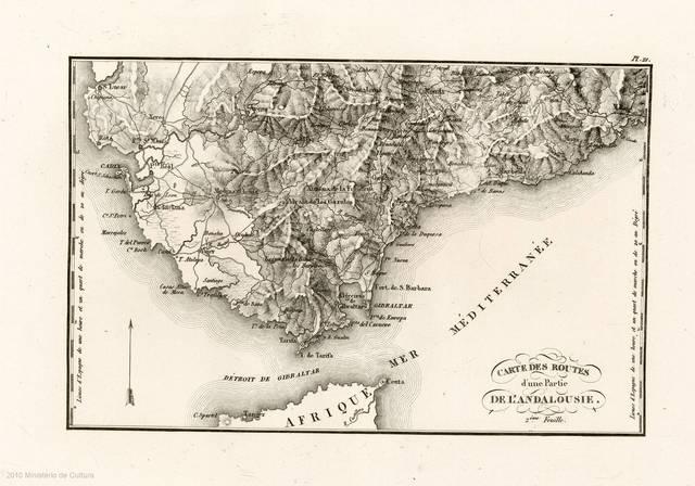 Carte des routes d'une partie de l'Andalousie : 2eme feuille