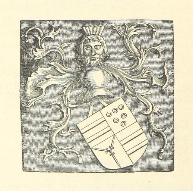"""coat of arms from """"The Bishoprick Garland; or, a collection of legends, songs, ballads, etc. belonging to the County of D. [Edited by Sir C. Sharpe.]"""""""