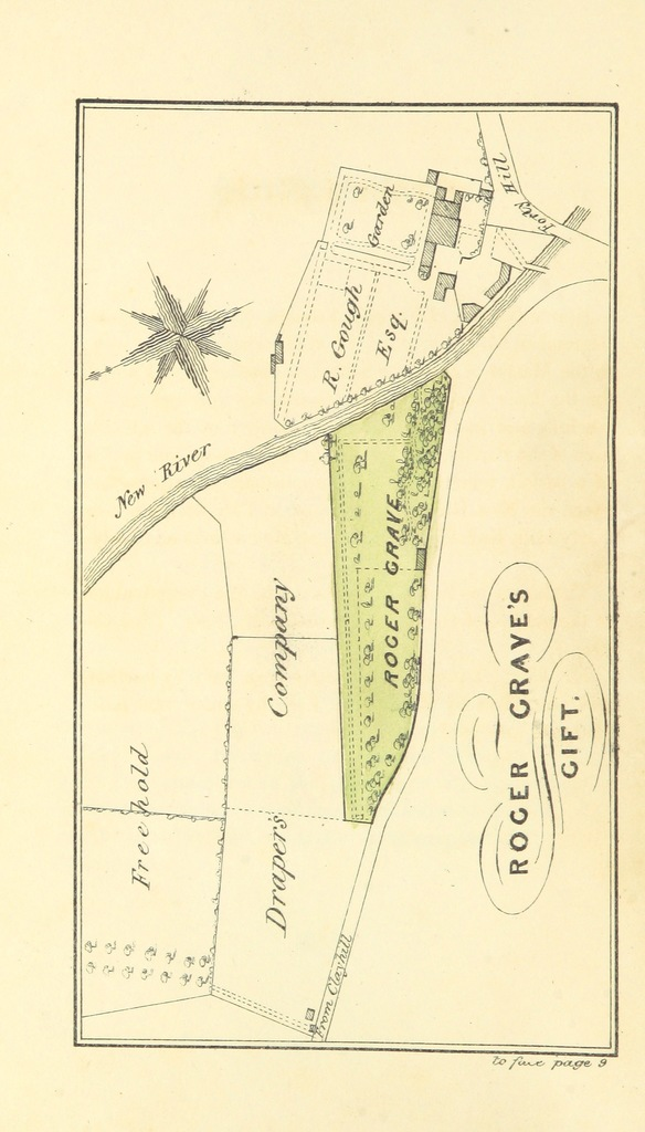 """Map from """"An Account of the several Charities and Estates belonging to the Parish of Enfield. Extracted from the Parish Records ... by P. Hardy. [With maps and plans.]"""""""