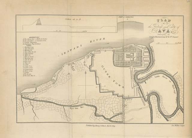 """map from """"Journal of an Embassy from the Governor General of India to the Court of Ava ... With an appendix, containing a description of fossil remains, by Professor Buckland and Mr. Clift. Second edition. [With plates and a map.]"""""""