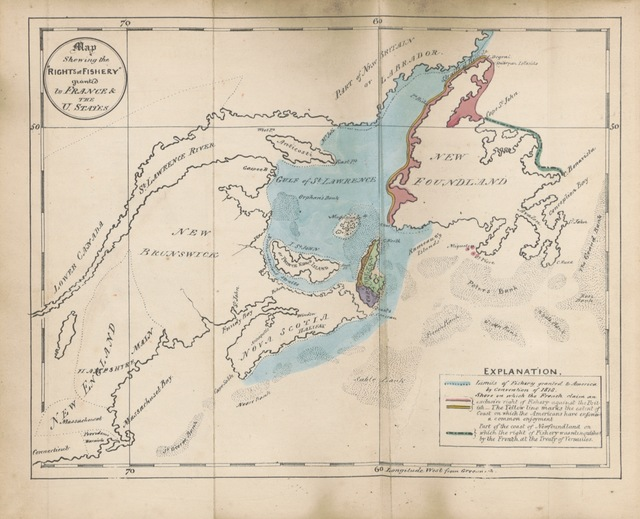 """map from """"The British North American Colonies. Letters to ... E. G. S. Stanley, M.P., upon the existing treaties with France and America, as regards their """"Rights of Fishery"""" upon the coasts of Nova Scotia, Labrador and Newfoundland ... With a general view of the Colonial policy, etc"""""""