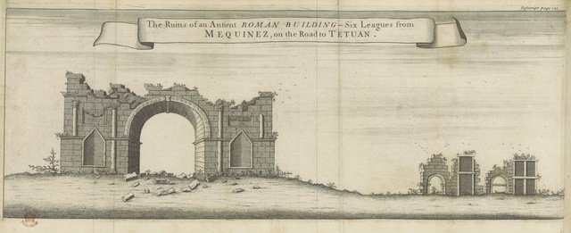 """arches from """"A Voyage to Barbary, for the Redemption of Captives; performed, in 1720, by the Mathurin-Trinitarian Fathers, Fran, Comelin, Philemon de la Motte, and Jos. Bernard. Now first Englished [by J. Morgan] from the French original [of P. de La Motte]. With lists of ... slaves ransomed ... from Mequeniz: also very exact draughts of that place, Alcasar, Oran, and its neighbourhood, with maps, etc"""""""