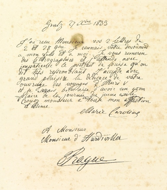 """manuscript from """"Souvenirs des Highlands. Voyage à la suite de Henri V. en 1832 ... Relation, scènes, portraits, paysages et costumes"""""""