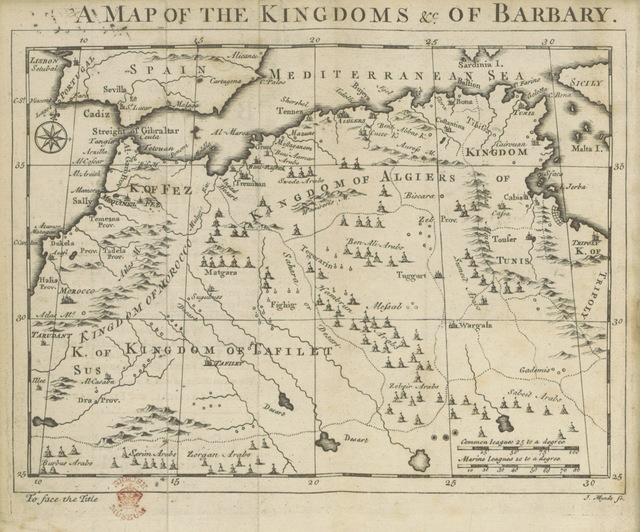 """map from """"A Voyage to Barbary, for the Redemption of Captives; performed, in 1720, by the Mathurin-Trinitarian Fathers, Fran, Comelin, Philemon de la Motte, and Jos. Bernard. Now first Englished [by J. Morgan] from the French original [of P. de La Motte]. With lists of ... slaves ransomed ... from Mequeniz: also very exact draughts of that place, Alcasar, Oran, and its neighbourhood, with maps, etc"""""""