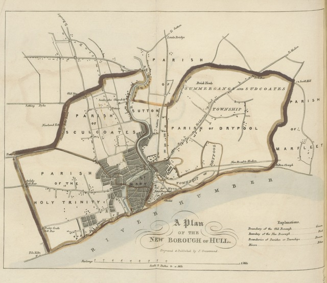 """map from """"Greenwood's Picture of Hull. L.P"""""""