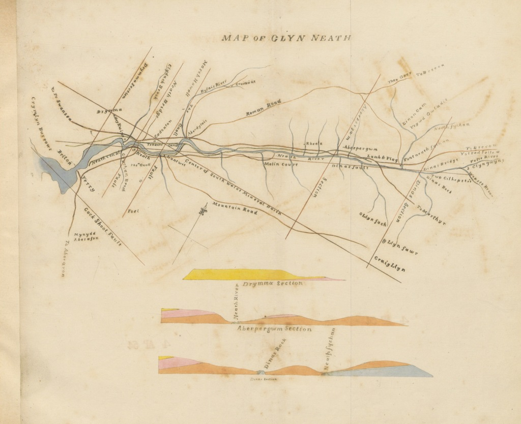 """map from """"Guide to the beauties of Glyn Neath. [With engravings, coloured.]"""""""