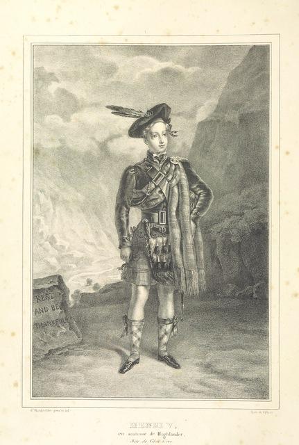 """portrait from """"Souvenirs des Highlands. Voyage à la suite de Henri V. en 1832 ... Relation, scènes, portraits, paysages et costumes"""""""