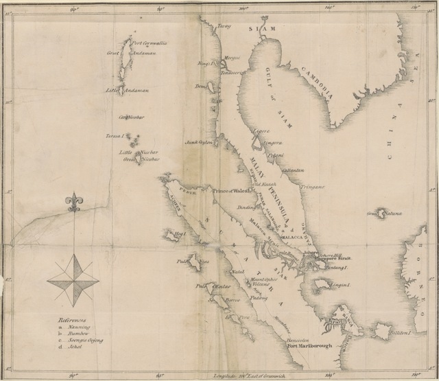 "map from ""A dissertation on the soil & agriculture of the British Settlement of Penang, or Prince of Wales Island, ... including Province Wellesley on the Malayan Peninsula, etc. [With plates and a map.]"""