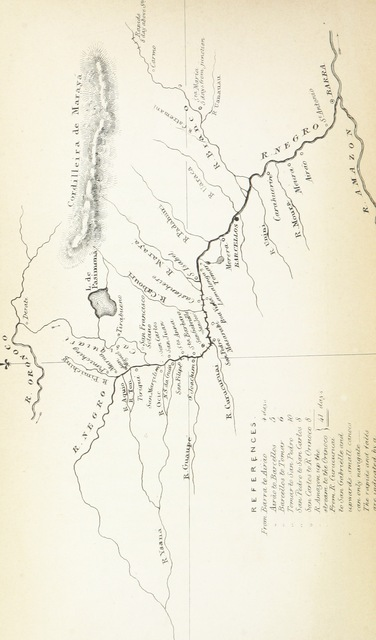 """map from """"Narrative of a journey from Lima to Para, across the Andes and down the Amazon: undertaken with a view of ascertaining the practicability of a navigable communication with the Atlantic, by the rivers Pachitea, Ucayali, and Amazon"""""""