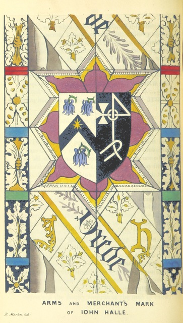 """coat of arms from """"Prolusiones Historicæ; or, essays, illustrative of the Halle of John Halle, citizen and merchant of Salisbury, in the reigns of Henry VI. and Edward IV.: with notes illustrative and explanatory by the Rev. E. D"""""""