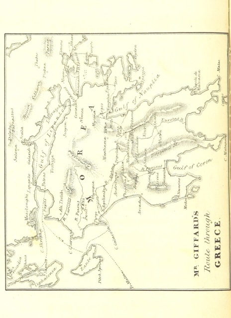 "map from ""A short visit to the Ionian Islands, Athens, and the Morea"""
