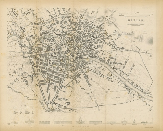 """map from """"Asher's Picture of Berlin and its Environs; containing a copious account of every object worthy of inspection in the Metropolis of Prussia, in Charlottenburg and Potsdam. To which is added a list of German classic authors and of their preeminent works"""""""