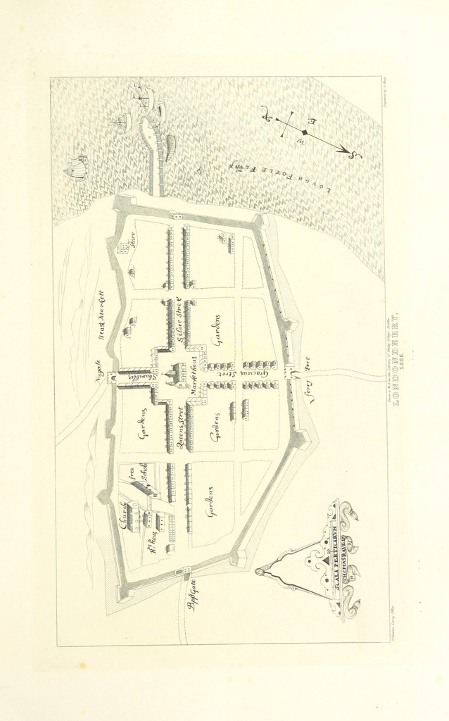 "map from ""Ordnance Survey of the County of Londonderry. Colonel Colby superintendent. Volume I. (Memoir of the city and North Western Liberties of Londonderry. Parish of Templemore.) [By Sir T. A. L.]"""