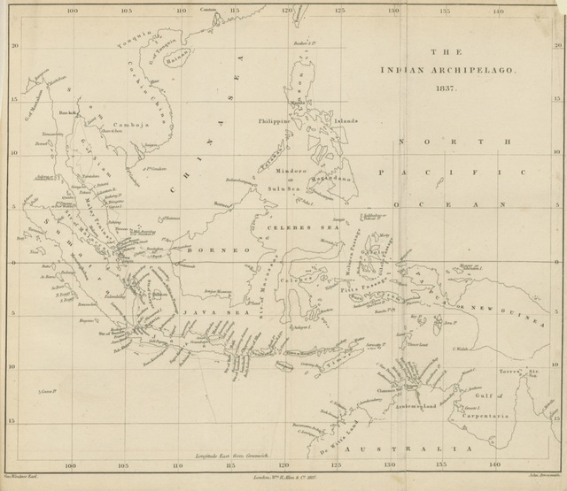 "map from ""The Eastern Seas, or Voyages and adventures in the Indian Archipelago, in 1832, 33, 34 ... also an account of the present state of Singapore, etc. [With maps.]"""