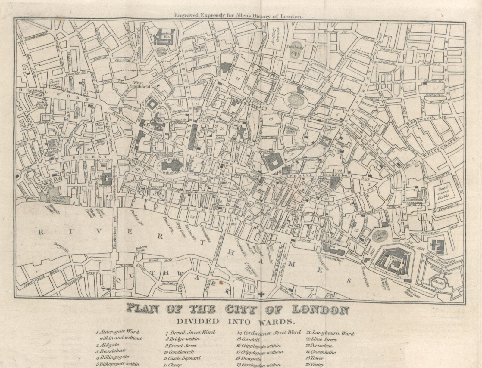 London 1600 Map.Map From The History And Antiquities Of London Westminster