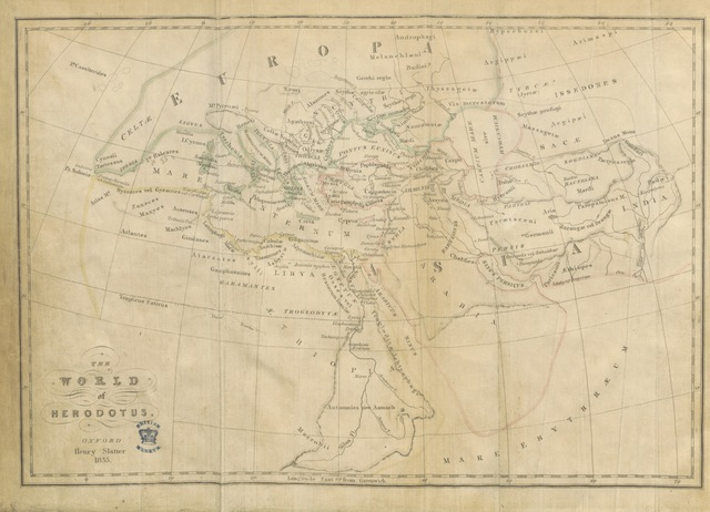 "map from ""[The nine books of the History of Herodotus, translated from the text of ... T. Gaisford. With notes illustrative and critical, a geographical index, an introductory essay and a summary of the History. By P. E. Laurent.]"""