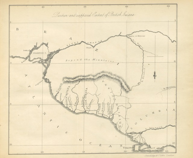 """map from """"The West Indies: the natural and physical history of the Windward and Leeward Colonies; with some account of the moral, social, and political condition of their inhabitants, immediately before and after the abolition of negro slavery"""""""
