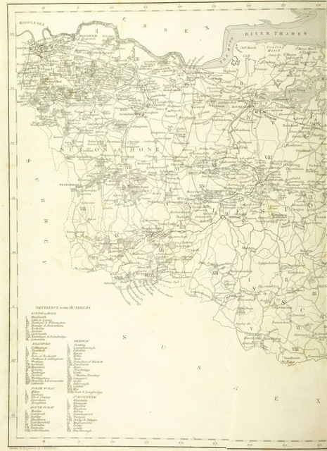 """map from """"An Epitome of County History, wherein the most remarkable objects, persons and events are briefly treated of ... Each county illustrated by a map. ... Vol. 1. County of Kent"""""""
