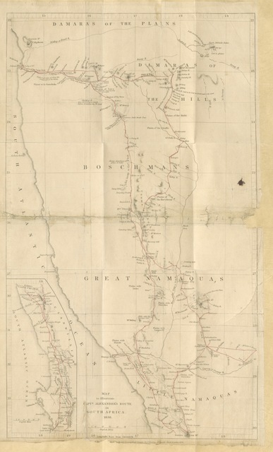 "map from ""An Expedition of Discovery into the Interior of Africa through the hitherto undescribed countries of the Great Namaquas, Boschmans and Hill Damaras, etc. [With plates.]"""