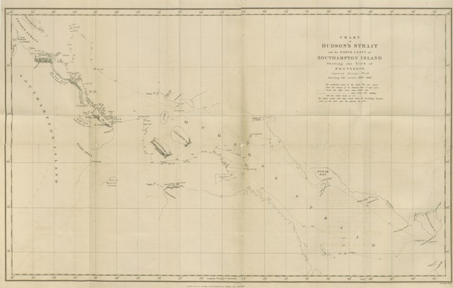"map from ""Narrative of an Expedition in H.M.S. Terror, undertaken with a view to geographical discovery on the Arctic shores, in the years 1836-7 ... Illustrated by a map and plates"""
