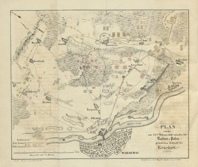 """map from """"Polens Revolution und Kampf im Jahre 1831 ... Zweite Auflage. Nebst einer Charte von Polen und dem Plan der Schlacht bei Grechow"""""""