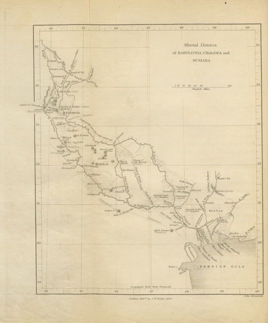 """map from """"Researches in Assyria, Babylonia, and Chaldæa; forming part of the labours of the Euphrates Expedition. [With plans.]"""""""