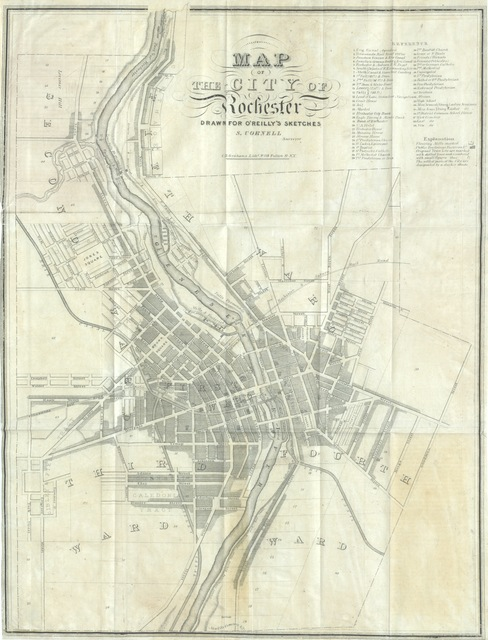 "map from ""Settlement in the West. Sketches of Rochester, with incidental notices of Western New-York. A collection of matters designed to illustrate the progress of Rochester during the first quarter-century of its existence ... Arranged by H. O'R"""