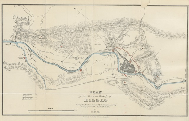 "map from ""Six Years in Biscay: comprising a personal narrative of the sieges of Bilbao in June 1835, and Oct. to Dec. 1836. and of the principal events which occurred in that city and the Basque provinces, during the years 1830 to 1837. [With plates and a map.]"""