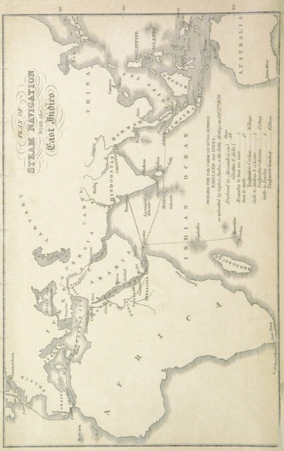 """map from """"Steam to India, via the Red Sea, and via the Cape of Good Hope. The respective routes, and the facilities for establishing a comprehensive plan, by way of Egypt, compared and considered. With a map and appendix"""""""