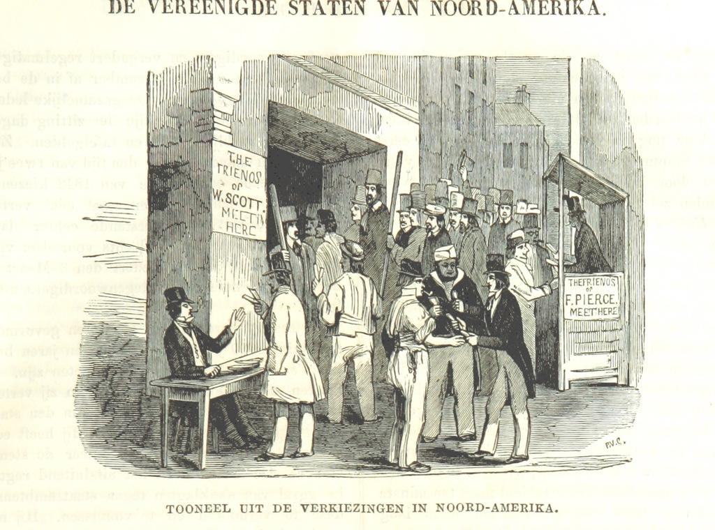 """Franklin Pierce from """"De Aardbol. Magazijn van hedendaagsche land- en volkenkunde ... Met platen en kaarten. [Deel 4-9 by P. H. W.]"""""""