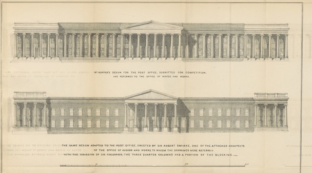 "General Post Office from ""A Letter to Lord Viscount Melbourne, on the rebuilding of the Royal Exchange. [With plates.]"""