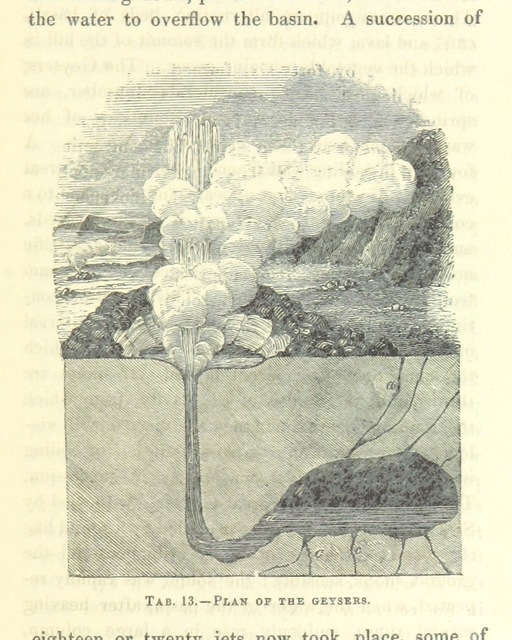 """geyser from """"[The Wonders of Geology; or, a familiar exposition of geological phenomena: being the substance of a course of lectures ... by G. M. ... from notes taken by G. F. Richardson.]"""""""
