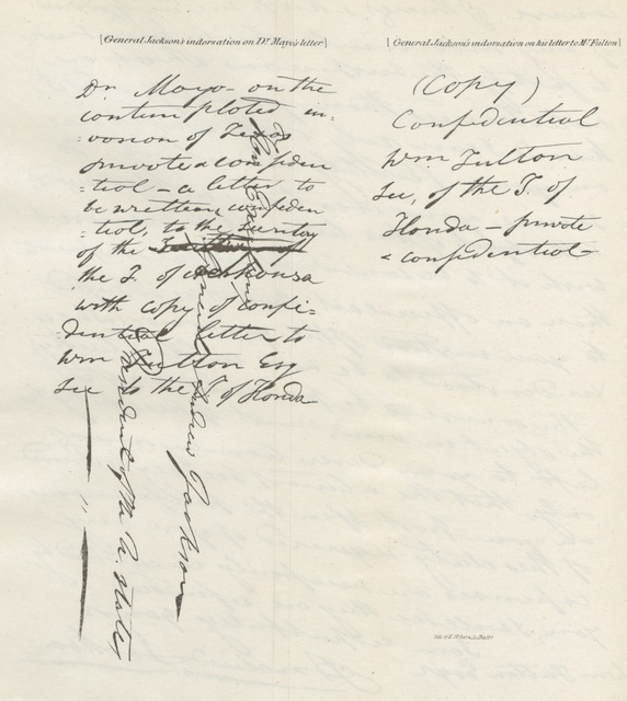 """Handwriting from """"Political Sketches of eight years in Washington, ... with annotations. ... Also a general appendix ... and a series of charts, giving a comparative synopsis of the constitutions of the several States and the United States"""""""