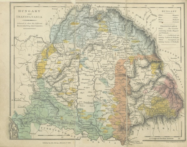 """map from """"Hungary and Transylvania; with remarks on their condition, social, political and economical ... With numerous illustrations from sketches by Mr. Hering"""""""