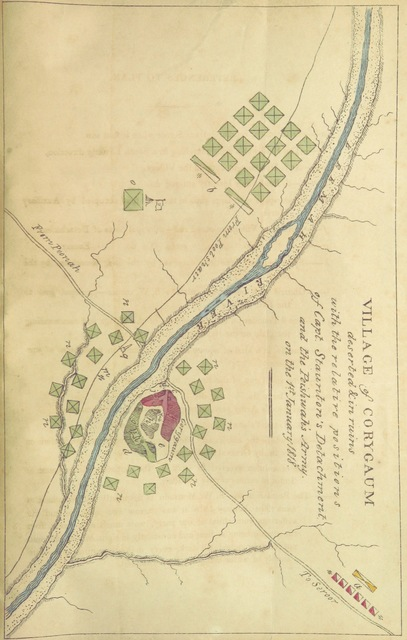 "Map from ""Sketch of the Column at Corygaum, with a plan of the village, some letters private and public, the general orders, and the dispatch from the Honorable Court of Directors, relating to the action on the 1st January 1818. [Compiled by J. Wylie.]"""