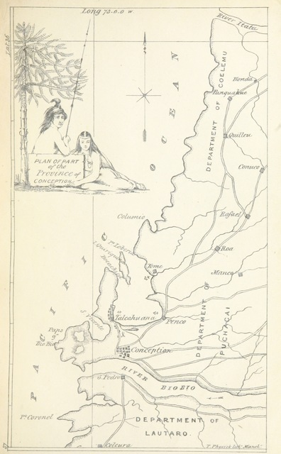 """map from """"The earthquake of Juan Fernandez, as it occurred in the year 1835 ... To which is added, a refutation of several misstatements that have been published in the """"Nautical Magazine"""" of 1837, and the public papers"""""""