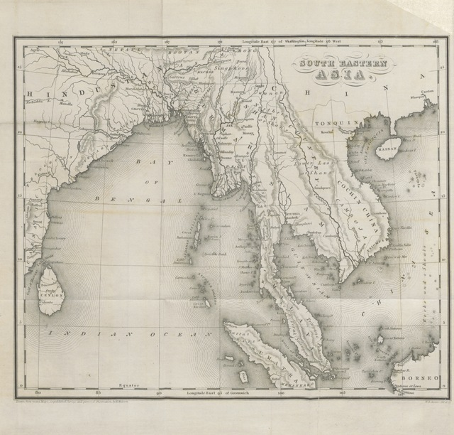 "map from ""Travels in South-Eastern Asia, embracing Hindustan, Malaya, Siam, and China. With notices of numerous missionary stations, and a full account of the Burman Empire with dissertation, tables, etc"""