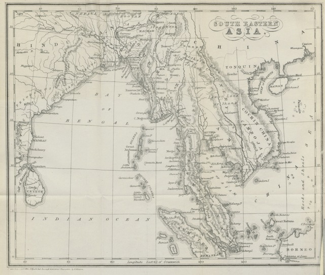 "map from ""[Travels in South-Eastern Asia, embracing Hindustan, Malaya, Siam, and China. With notices of numerous missionary stations, and a full account of the Burman Empire with dissertation, tables, etc.]"""