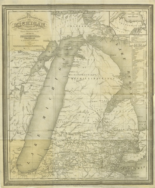 """maps from """"History of Michigan, civil and topographical, in a compendious form; with a view of the surrounding lakes. With a map"""""""