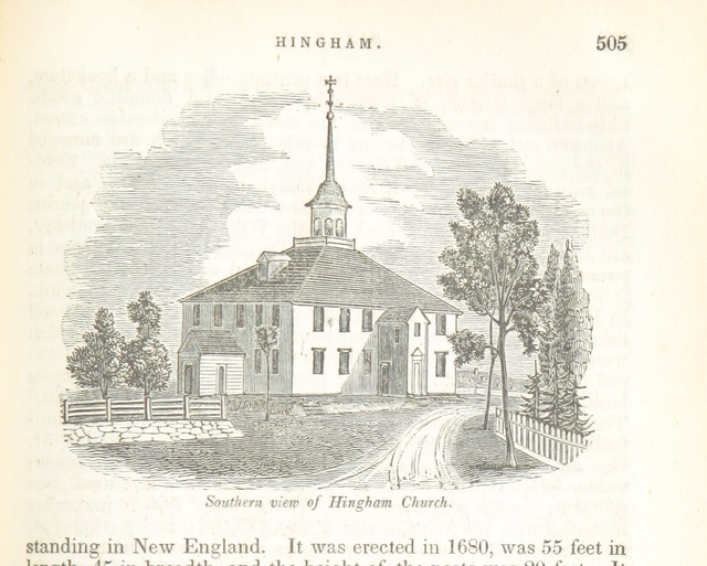 """oldest church in continuous ecclesiastical use in the United States from """"Historical Collections ... relating to the history and antiquities of every town in Massachusetts, with geographical descriptions. [With illustrations.]"""""""