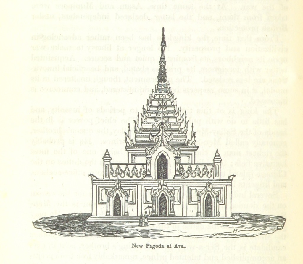 """pagoda from """"Travels in South-Eastern Asia, embracing Hindustan, Malaya, Siam, and China. With notices of numerous missionary stations, and a full account of the Burman Empire with dissertation, tables, etc"""""""