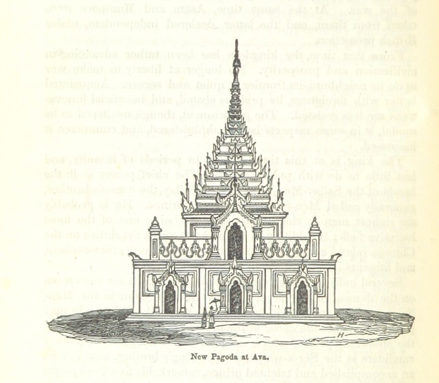 "pagoda from ""Travels in South-Eastern Asia, embracing Hindustan, Malaya, Siam, and China. With notices of numerous missionary stations, and a full account of the Burman Empire with dissertation, tables, etc"""