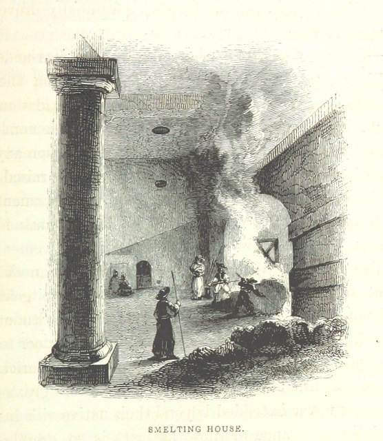 """smelting furnace from """"Hungary and Transylvania; with remarks on their condition, social, political and economical ... With numerous illustrations from sketches by Mr. Hering"""""""