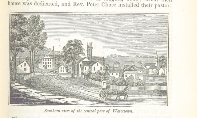 """Watertown from """"Historical Collections ... relating to the history and antiquities of every town in Massachusetts, with geographical descriptions. [With illustrations.]"""""""