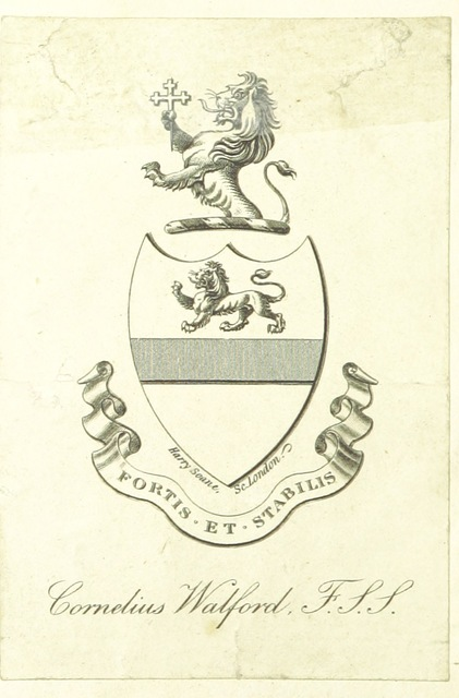 "coat of arms from ""Regulations and Orders of the Governors, Bailiffs, and Conservators of the Bedford Level Corporation: with the lot book. Corrected to the present time by S. Wells, etc"""