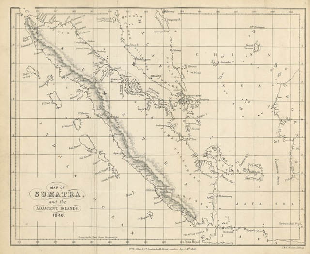 "map from ""Acheen, and the Ports of the North and East Coasts of Sumatra; with incidental notices of the trade in the Eastern seas, and the aggressions of the Dutch. [With a map.]"""